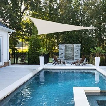 OKAWADACH Sonnensegel, Polyester Sonnensegel Sonnenschutz Garten Balkon und Terrasse wetterbeständig mit UV Schutz Windschutz für Garten Terrasse Camping (Dreieck 2 x 2 x 2m Cremeweiß) - 3