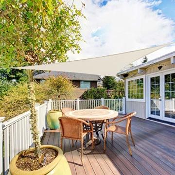 OKAWADACH Sonnensegel, Polyester Sonnensegel Sonnenschutz Garten Balkon und Terrasse wetterbeständig mit UV Schutz Windschutz für Garten Terrasse Camping (Dreieck 2 x 2 x 2m Cremeweiß) - 4