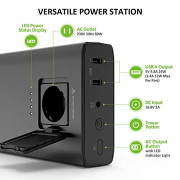 Omars Powerbank Steckdose AC 80W 24000mAh Externer Akku für MacBook/MacBook Pro/MacBook Air, Tragbar Ladegerät Universal Powerstation Reiseladegerät für Laptops, Dell XPS/iPad Pro, iPhone Pro/XS/X - 2