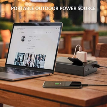 Omars Powerbank Steckdose AC 80W 24000mAh Externer Akku für MacBook/MacBook Pro/MacBook Air, Tragbar Ladegerät Universal Powerstation Reiseladegerät für Laptops, Dell XPS/iPad Pro, iPhone Pro/XS/X - 8