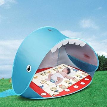 Opret Pop-up Strandzelt, Faltbares Kinder campingzelt mit Pool, Wasserdichtes und UV-Beständiges Tragbares Zelt, Geeignet für Babys, die im Strandgarten Spielen- Blau - 2