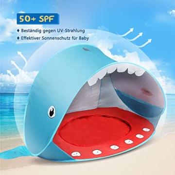 Opret Pop-up Strandzelt, Faltbares Kinder campingzelt mit Pool, Wasserdichtes und UV-Beständiges Tragbares Zelt, Geeignet für Babys, die im Strandgarten Spielen- Blau - 5