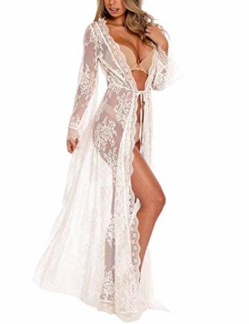 Orshoy Sexy Kimono Damen Spitze Cardigan Strand Umhang Bikini Bedecken Leichte Boho Strand Jacke Cover Up Strandkleider Sommer Urlaub Poncho Weiß - 1