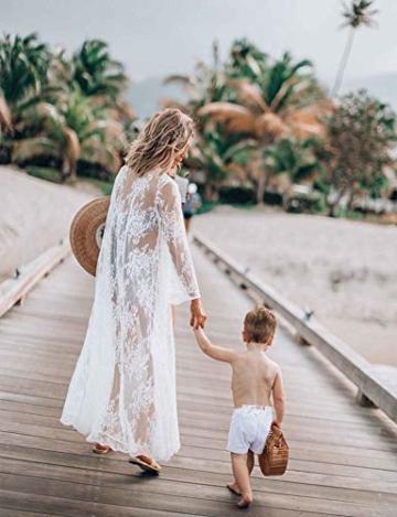 Orshoy Sexy Kimono Damen Spitze Cardigan Strand Umhang Bikini Bedecken Leichte Boho Strand Jacke Cover Up Strandkleider Sommer Urlaub Poncho Weiß - 5