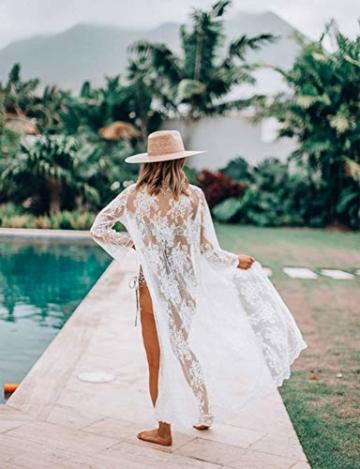 Orshoy Sexy Kimono Damen Spitze Cardigan Strand Umhang Bikini Bedecken Leichte Boho Strand Jacke Cover Up Strandkleider Sommer Urlaub Poncho Weiß - 6