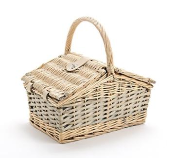 Picknickkorb 2 Personen - 14 TLG Set - Aus Weide Geflochten Mit Deckel, Keramik Geschirr, Besteck Und Wein-Gläsern - 2