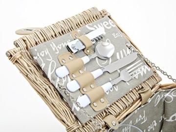 Picknickkorb 2 Personen - 14 TLG Set - Aus Weide Geflochten Mit Deckel, Keramik Geschirr, Besteck Und Wein-Gläsern - 3