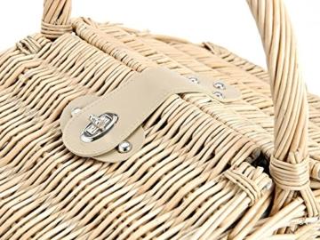 Picknickkorb 2 Personen - 14 TLG Set - Aus Weide Geflochten Mit Deckel, Keramik Geschirr, Besteck Und Wein-Gläsern - 4