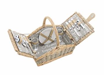 Picknickkorb 2 Personen - 14 TLG Set - Aus Weide Geflochten Mit Deckel, Keramik Geschirr, Besteck Und Wein-Gläsern - 1