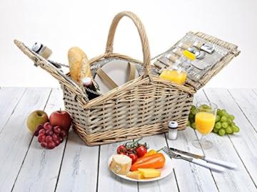 Picknickkorb 2 Personen - 14 TLG Set - Aus Weide Geflochten Mit Deckel, Keramik Geschirr, Besteck Und Wein-Gläsern - 5