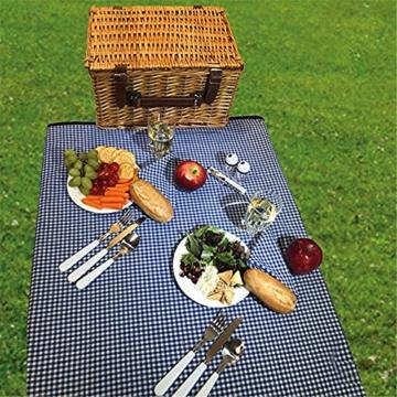 Picknickkorb 2019 Der neueste - isolierte 4-Personen-Korb aus Korbwaren - Premium-Set mit Tellern, Weingläsern, Besteck und Servietten - 2