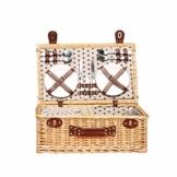 Picknickkorb 2019 Der neueste - isolierte 4-Personen-Korb aus Korbwaren - Premium-Set mit Tellern, Weingläsern, Besteck und Servietten - 1