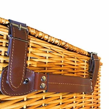 Picknickkorb 2019 Der neueste - isolierte 4-Personen-Korb aus Korbwaren - Premium-Set mit Tellern, Weingläsern, Besteck und Servietten - 3