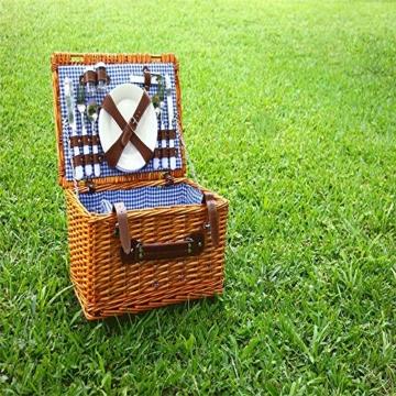Picknickkorb 2019 Der neueste - isolierte 4-Personen-Korb aus Korbwaren - Premium-Set mit Tellern, Weingläsern, Besteck und Servietten - 4