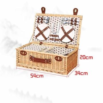 Picknickkorb 2019 Der neueste - isolierte 4-Personen-Korb aus Korbwaren - Premium-Set mit Tellern, Weingläsern, Besteck und Servietten - 5