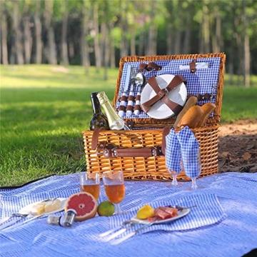 Picknickkorb 2019 Der neueste - isolierte 4-Personen-Korb aus Korbwaren - Premium-Set mit Tellern, Weingläsern, Besteck und Servietten - 6