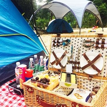 Picknickkorb 2019 Der neueste - isolierte 4-Personen-Korb aus Korbwaren - Premium-Set mit Tellern, Weingläsern, Besteck und Servietten - 7
