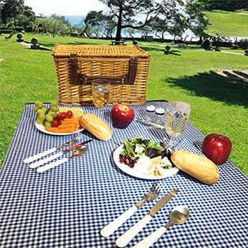 Picknickkorb 2019 Der neueste - isolierte 4-Personen-Korb aus Korbwaren - Premium-Set mit Tellern, Weingläsern, Besteck und Servietten - 8