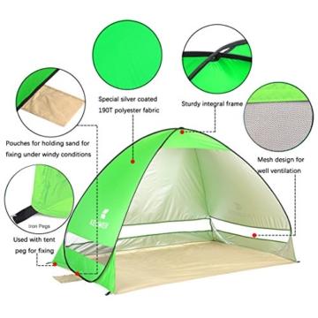 Pop Up Strandmuschel, LOTUSWILD Automatisches StrandZelt Extra Leicht UV-Schutz Portable Beach Zelt für Camping/Outdoor/ BBQ/Garten/Park/Angeln/Strand/Familienaktivitäten im Freien (für 2-4 Personen ) - 2