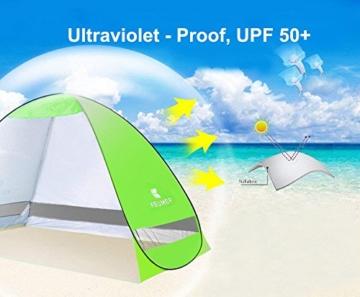 Pop Up Strandmuschel, LOTUSWILD Automatisches StrandZelt Extra Leicht UV-Schutz Portable Beach Zelt für Camping/Outdoor/ BBQ/Garten/Park/Angeln/Strand/Familienaktivitäten im Freien (für 2-4 Personen ) - 3