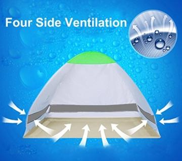 Pop Up Strandmuschel, LOTUSWILD Automatisches StrandZelt Extra Leicht UV-Schutz Portable Beach Zelt für Camping/Outdoor/ BBQ/Garten/Park/Angeln/Strand/Familienaktivitäten im Freien (für 2-4 Personen ) - 6