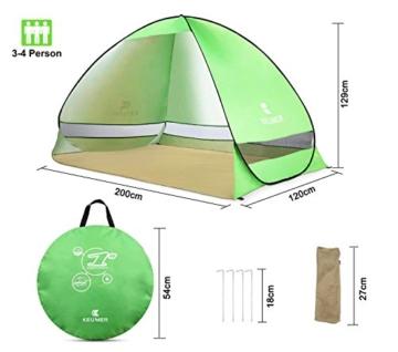 Pop Up Strandmuschel, LOTUSWILD Automatisches StrandZelt Extra Leicht UV-Schutz Portable Beach Zelt für Camping/Outdoor/ BBQ/Garten/Park/Angeln/Strand/Familienaktivitäten im Freien (für 2-4 Personen ) - 8