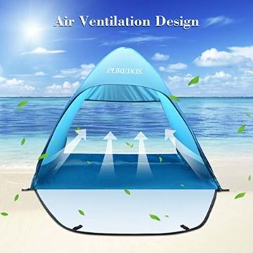 PUREBOX Strandmuschel groß Pop up Strandzelt Extra Leicht UV Schutz 50+ Sonnenschutz Tragbar Beach Zelt Belüftung Wasserdicht Outdoor Wurfzelt für 1-3 Personen mit erweiterter Veranda - 2