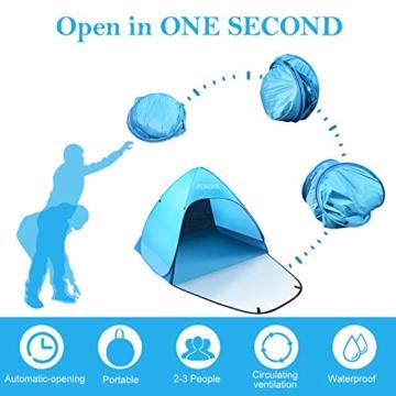 PUREBOX Strandmuschel groß Pop up Strandzelt Extra Leicht UV Schutz 50+ Sonnenschutz Tragbar Beach Zelt Belüftung Wasserdicht Outdoor Wurfzelt für 1-3 Personen mit erweiterter Veranda - 4