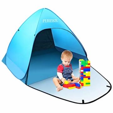 PUREBOX Strandmuschel groß Pop up Strandzelt Extra Leicht UV Schutz 50+ Sonnenschutz Tragbar Beach Zelt Belüftung Wasserdicht Outdoor Wurfzelt für 1-3 Personen mit erweiterter Veranda - 1