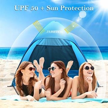 PUREBOX Strandmuschel groß Pop up Strandzelt Extra Leicht UV Schutz 50+ Sonnenschutz Tragbar Beach Zelt Belüftung Wasserdicht Outdoor Wurfzelt für 1-3 Personen mit erweiterter Veranda - 5