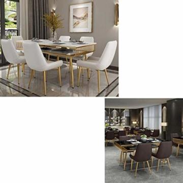 QX Stuhl, Stühle, Stuhl Armpolster, Hochstuhl, Hocker Moderne Rückenlehne Esszimmerstuhl Freizeit Cafe Hocker Pu Leder Home Küche Golden Iron Legs,Weiß - 2