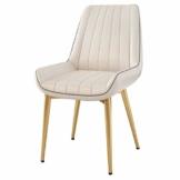 QX Stuhl, Stühle, Stuhl Armpolster, Hochstuhl, Hocker Moderne Rückenlehne Esszimmerstuhl Freizeit Cafe Hocker Pu Leder Home Küche Golden Iron Legs,Weiß - 1