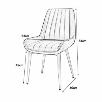 QX Stuhl, Stühle, Stuhl Armpolster, Hochstuhl, Hocker Moderne Rückenlehne Esszimmerstuhl Freizeit Cafe Hocker Pu Leder Home Küche Golden Iron Legs,Weiß - 3