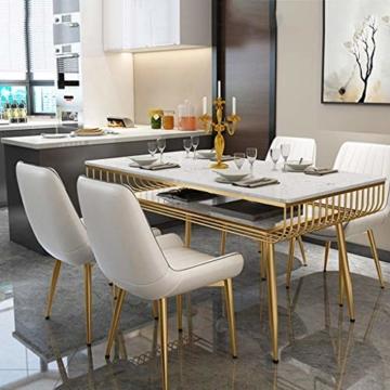 QX Stuhl, Stühle, Stuhl Armpolster, Hochstuhl, Hocker Moderne Rückenlehne Esszimmerstuhl Freizeit Cafe Hocker Pu Leder Home Küche Golden Iron Legs,Weiß - 4