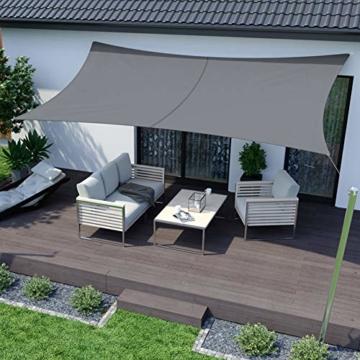 RATEL Sonnensegel Grau 4 × 6 m Rechteckig, wasserdicht Windschutz mit 95% UV Schutz Sonnenschutz für Draußen, Patio, Garten Terrasse Camping - 1