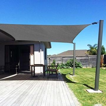 RATEL Sonnensegel Grau 4 × 6 m Rechteckig, wasserdicht Windschutz mit 95% UV Schutz Sonnenschutz für Draußen, Patio, Garten Terrasse Camping - 6