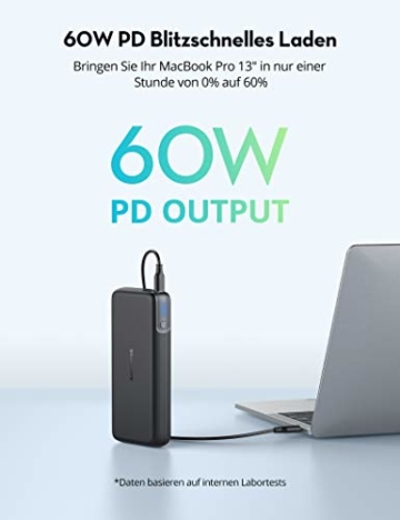 RAVPower PD 60W Powerbank USB C Power Delivery 20000mAh Quick Charge 3.0 Powerbank mit Type C Kabel für iPhone 11/12 Pro Max XS XR iPad Air Pro usw - 3
