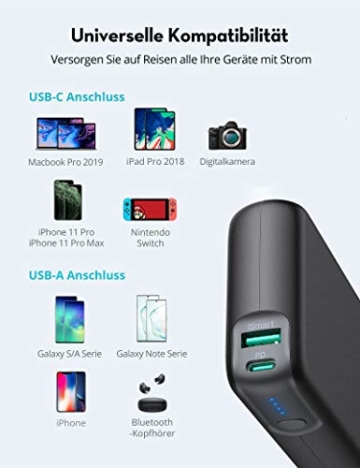 RAVPower PD 60W Powerbank USB C Power Delivery 20000mAh Quick Charge 3.0 Powerbank mit Type C Kabel für iPhone 11/12 Pro Max XS XR iPad Air Pro usw - 6