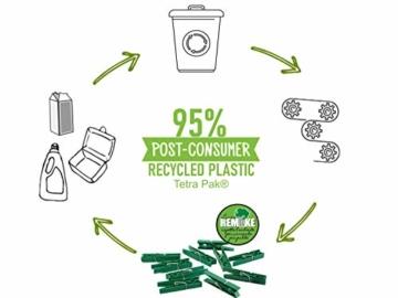 remake 80 STK Wäscheklammern Ökologische 95% Recycelte Kunststoff. Made in Italy. Ideal für Wäscheleinen im Freien und Lebensmitteltaschen. Widerstandsfähig, Winddicht. Grün Farbe - 3