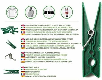 remake 80 STK Wäscheklammern Ökologische 95% Recycelte Kunststoff. Made in Italy. Ideal für Wäscheleinen im Freien und Lebensmitteltaschen. Widerstandsfähig, Winddicht. Grün Farbe - 4