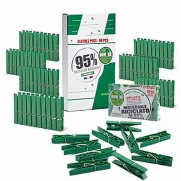 remake 80 STK Wäscheklammern Ökologische 95% Recycelte Kunststoff. Made in Italy. Ideal für Wäscheleinen im Freien und Lebensmitteltaschen. Widerstandsfähig, Winddicht. Grün Farbe - 1