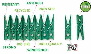 remake 80 STK Wäscheklammern Ökologische 95% Recycelte Kunststoff. Made in Italy. Ideal für Wäscheleinen im Freien und Lebensmitteltaschen. Widerstandsfähig, Winddicht. Grün Farbe - 5