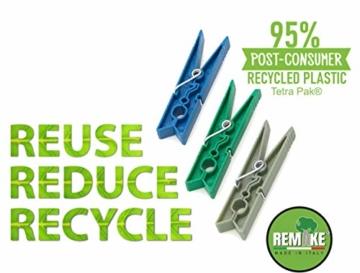 remake 80 STK Wäscheklammern Ökologische 95% Recycelte Kunststoff. Made in Italy. Ideal für Wäscheleinen im Freien und Lebensmitteltaschen. Widerstandsfähig, Winddicht. Grün Farbe - 7