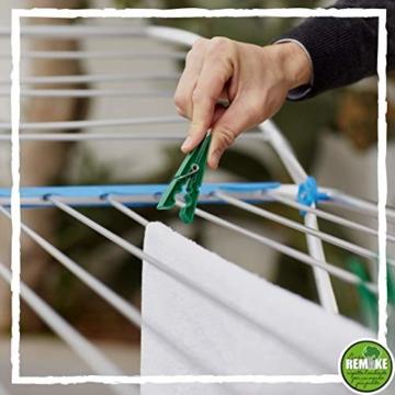 remake 80 STK Wäscheklammern Ökologische 95% Recycelte Kunststoff. Made in Italy. Ideal für Wäscheleinen im Freien und Lebensmitteltaschen. Widerstandsfähig, Winddicht. Grün Farbe - 8