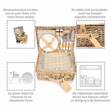 Sänger Picknickkorb Amrum aus Weide für 2 Personen, Hochwertiger Weidenkorb mit integrierter Kühltasche, 13 teilig, Volumen der Kühltasche 10,5 L, Henkelkorb mit Picknickgeschirr - 2
