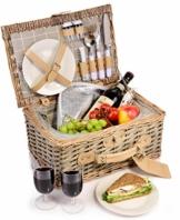 Sänger Picknickkorb Amrum aus Weide für 2 Personen, Hochwertiger Weidenkorb mit integrierter Kühltasche, 13 teilig, Volumen der Kühltasche 10,5 L, Henkelkorb mit Picknickgeschirr - 1