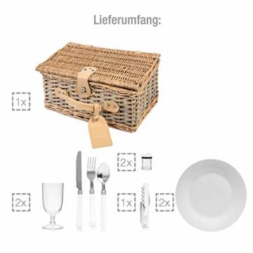 Sänger Picknickkorb Amrum aus Weide für 2 Personen, Hochwertiger Weidenkorb mit integrierter Kühltasche, 13 teilig, Volumen der Kühltasche 10,5 L, Henkelkorb mit Picknickgeschirr - 3