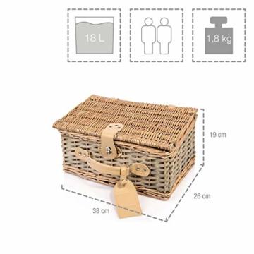 Sänger Picknickkorb Amrum aus Weide für 2 Personen, Hochwertiger Weidenkorb mit integrierter Kühltasche, 13 teilig, Volumen der Kühltasche 10,5 L, Henkelkorb mit Picknickgeschirr - 4