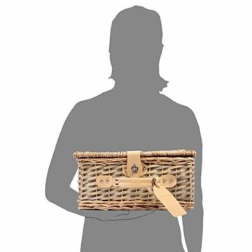 Sänger Picknickkorb Amrum aus Weide für 2 Personen, Hochwertiger Weidenkorb mit integrierter Kühltasche, 13 teilig, Volumen der Kühltasche 10,5 L, Henkelkorb mit Picknickgeschirr - 5