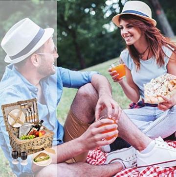 Sänger Picknickkorb Amrum aus Weide für 2 Personen, Hochwertiger Weidenkorb mit integrierter Kühltasche, 13 teilig, Volumen der Kühltasche 10,5 L, Henkelkorb mit Picknickgeschirr - 6